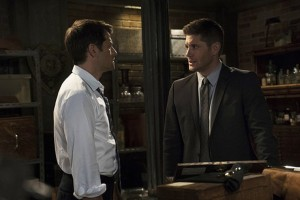 Dean chats with Castiel, still not realizing Lucifer's driving.
