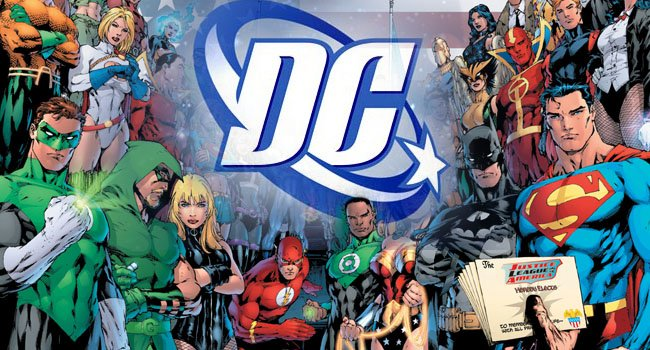DC comics logo and characters