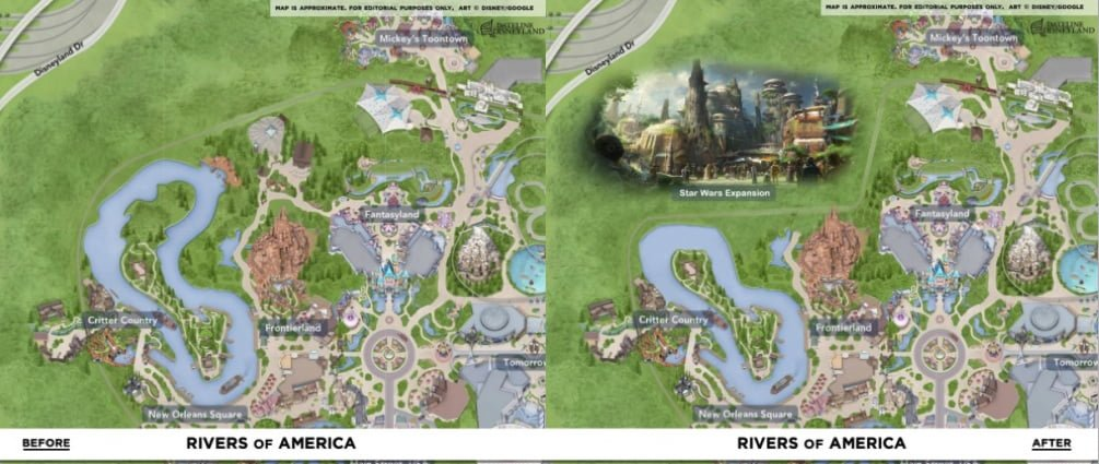 Disneyland Rivers of America before and after