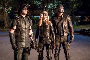 arrow ollie laurel and diggle in costume