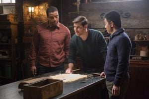 The Grimm gang vow to remain silent on Monroe's mysterious healing...until they figure out what caused it.