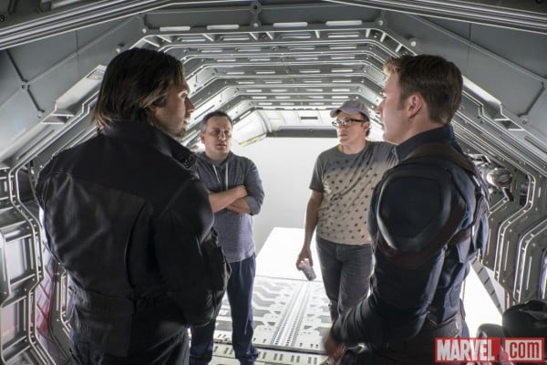Joe and Anthony Russo directing Chris Evans and Sebastian Stan