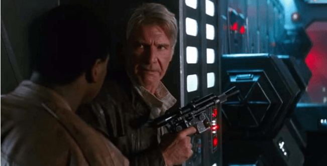 han solo and finn star wars the force awakens harrison ford jon boyega