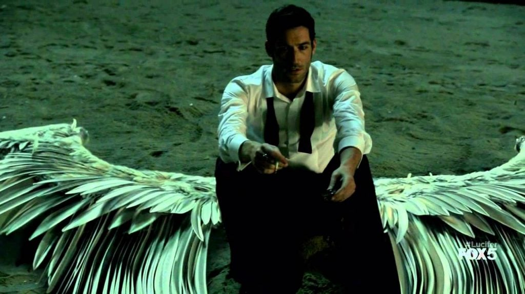 Lucifer sits with his wings, perhaps for the final time.