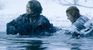 got theon and sansa cross icy river