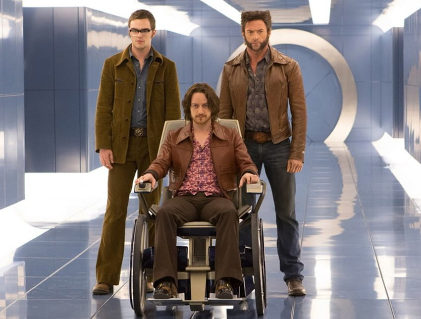 Nicholas Hoult and James McAvoy in 'X-Men: days of Future Past' with Hugh Jackman