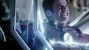 Barry feels the burn of lightning as the gang recreates the particle accelerator explosion