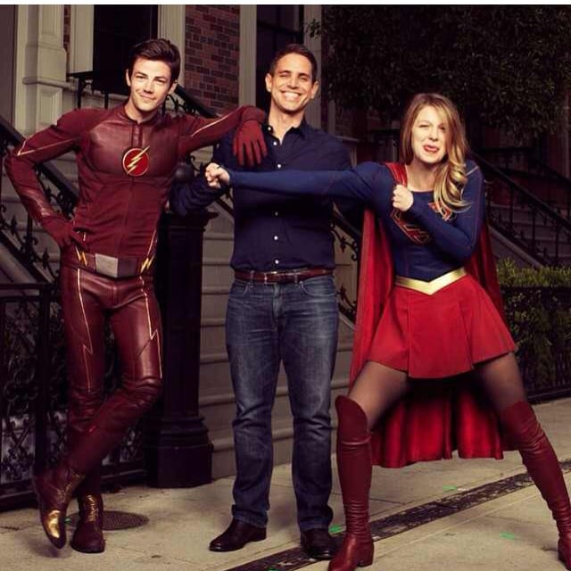 Greg Berlanti With Grant Gustin And Melissa Benoist