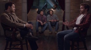 The Winchesters watch, fascinated by the Dr. Phil-like atmosphere between Father and Son.