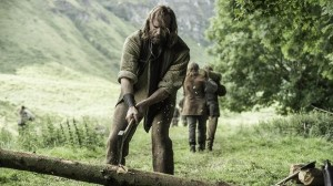 got the hound chopping wood