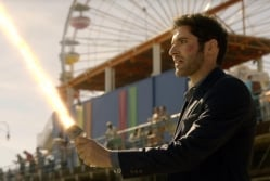 Lucifer with his light saber...errr Flaming Sword.
