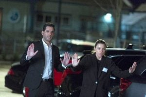 This is probably as close as Lucifer and Chloe will be to holding hands for awhile.