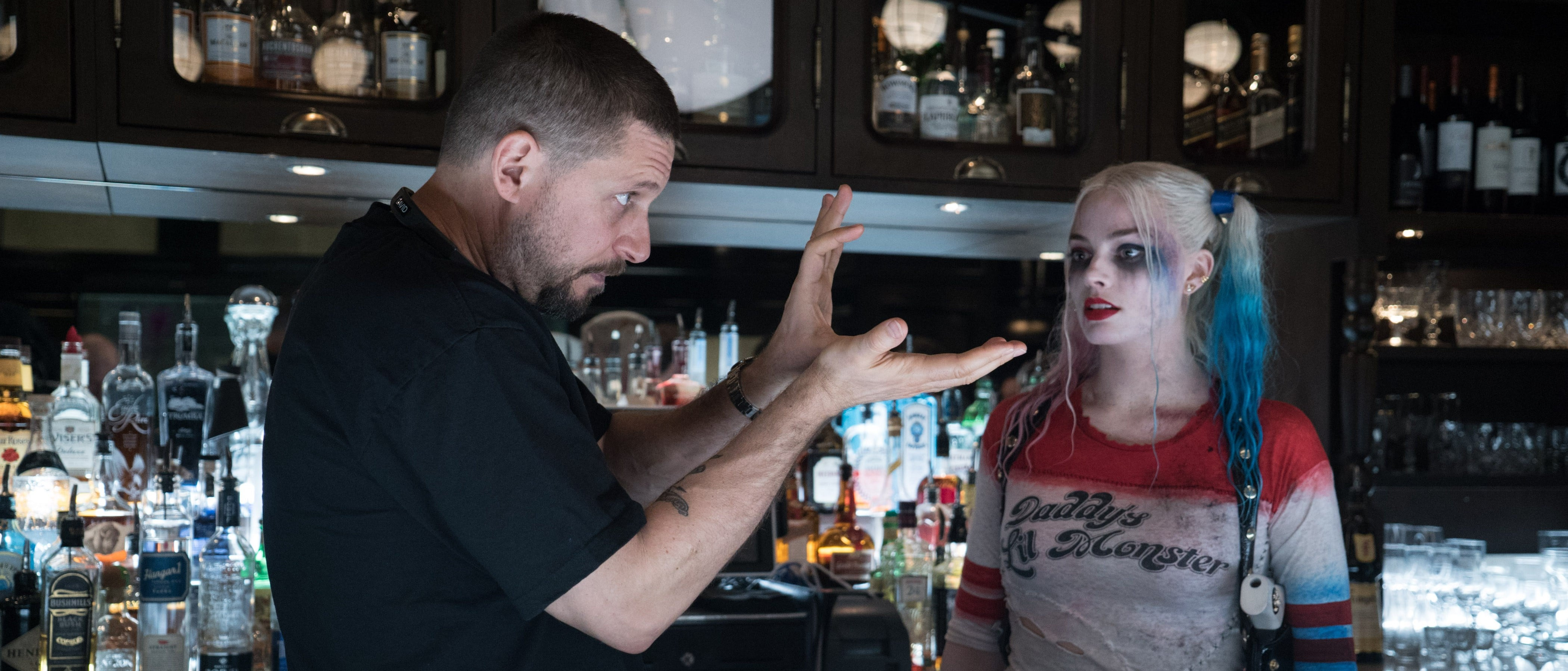 David Ayer with Margot Robbie as Harley Quinn