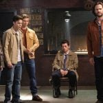 """Supernatural -- """"Stranger in a Strange Land"""" -- Image Number: SN1401b_0091b.jpg -- Pictured (L-R): Katherine Evans as Maggie, Alexander Calvert as Jack, Misha Collins as Castiel and Jared Padalecki as Sam -- Photo: Bettina Strauss/The CW -- © 2018 The CW Network, LLC All Rights Reserved"""