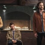 """Supernatural -- """"Stranger in a Strange Land"""" -- Image Number: SN1401b_0111b.jpg -- Pictured (L-R): Alexander Calvert as Jack, Misha Collins as Castiel and Jared Padalecki as Sam -- Photo: Bettina Strauss/The CW -- © 2018 The CW Network, LLC All Rights Reserved"""