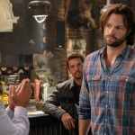 """Supernatural -- """"Stranger in a Strange Land"""" -- Image Number: SN1401b_0293b.jpg -- Pictured (L-R): Dean Armstrong as Kip and Jared Padalecki as Sam -- Photo: Bettina Strauss/The CW -- © 2018 The CW Network, LLC All Rights Reserved"""