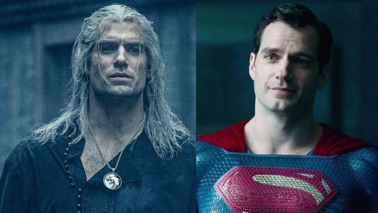 Henry Cavill as Geralt and Superman (side by side)