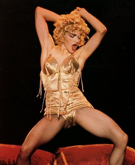 Madonna in a Jean-Paul Gaultier outfit from her 1990 'Blond Ambition Tour'.