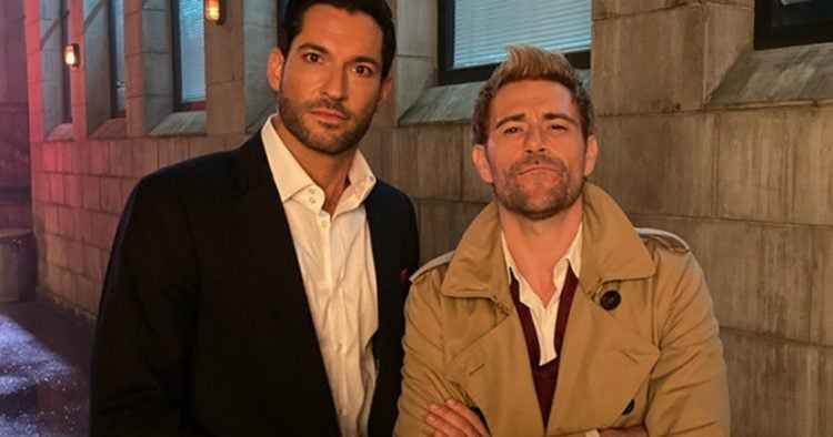 Tom Ellis and Matt Ryan from Crisis on Infinite Earths