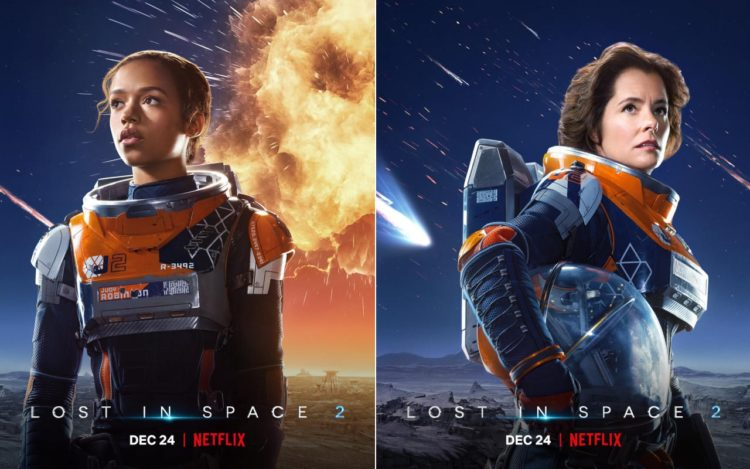Lost in Space 2: (l) Taylor Russell as Judy Robinson; (r) Parker Posey as June Harris/Dr. Smith