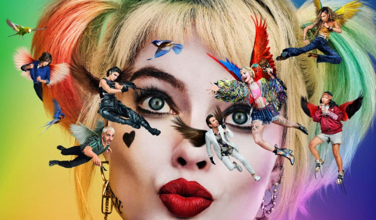 Birds of Prey poster slice with movie characters as birds flying around the face of Harley Quinn