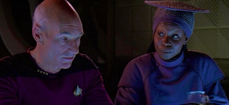 Patrick Stewart and Whoopi Goldberg in Star Trek: The Next Generation