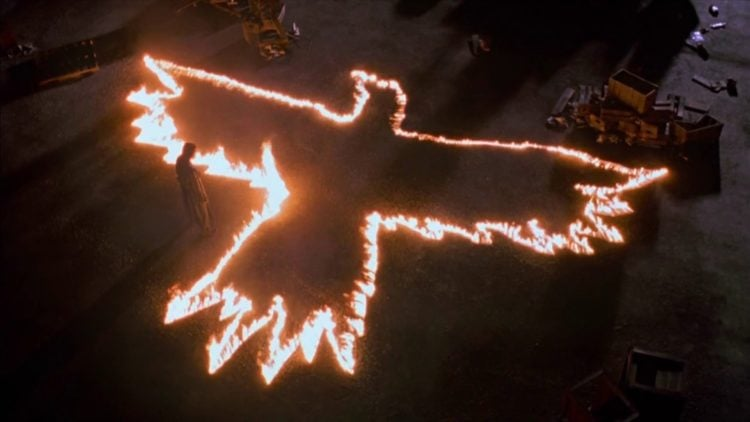 The Crow image burning in fire