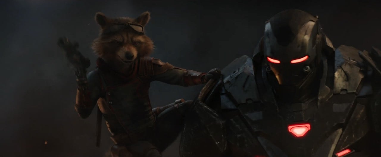 Don Cheadle as War Machine with Rocket Raccoon