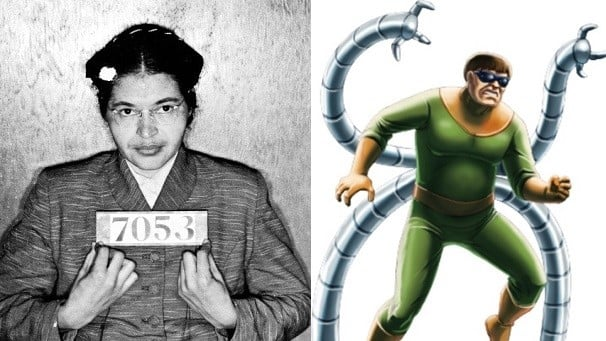 Rosa Parks and Doctor Octopus split screen image
