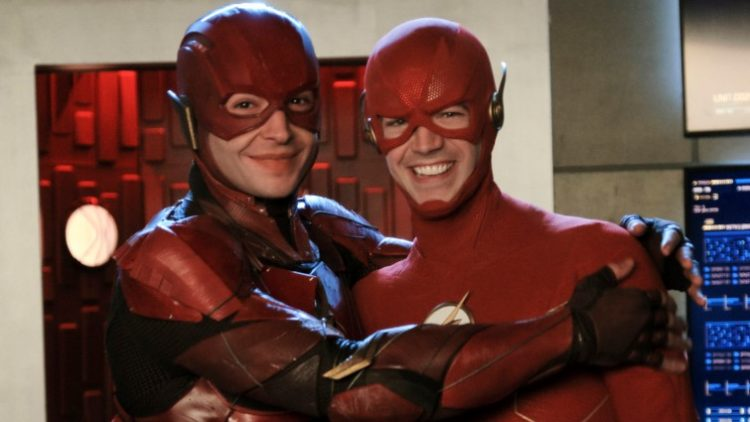 The Flash actors in costume Ezra Miller and Grant Gustin