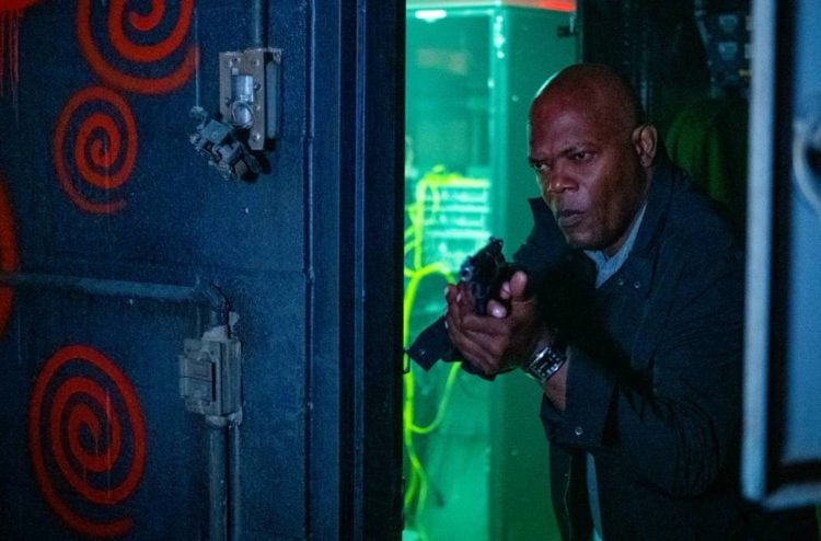 Spiral: From The Book Of Saw Samuel L Jackson with a gun