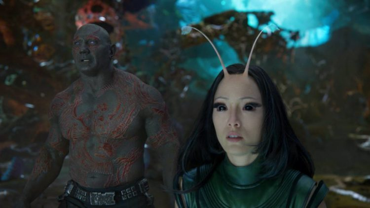 Drax and Mantis in Guardians of the Galaxy 2